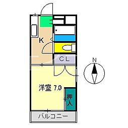 コーポ筆山[2階]の間取り