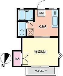 神奈川県横浜市南区中村町1丁目の賃貸アパートの間取り