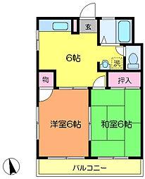 JR京浜東北・根岸線 川崎駅 バス14分 小田6丁目下車 徒歩1分の賃貸マンション 2階2DKの間取り