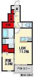 カンポドーロ 1階1LDKの間取り