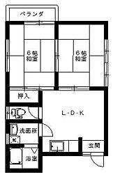 豊岡市高屋 こぶしハイツ[2階]の間取り