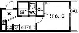SWISS天王寺II[4階]の間取り