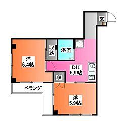 東京都北区赤羽2の賃貸マンションの間取り