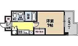ファーストフィオーレ京橋パークフロント 3階1Kの間取り
