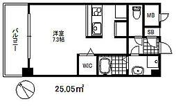 ソアシンナガタ 3階ワンルームの間取り