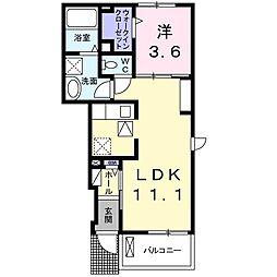 JR山陽本線 上道駅 徒歩6分の賃貸アパート 1階1LDKの間取り