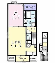 長野県長野市差出南2丁目の賃貸アパートの間取り