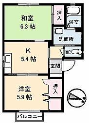 山口県下関市富任町7丁目の賃貸アパートの間取り