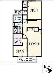 シャルムK B棟[1階]の間取り