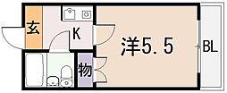 大阪府東大阪市小若江3丁目の賃貸マンションの間取り