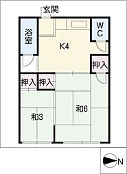 香里荘[1階]の間取り