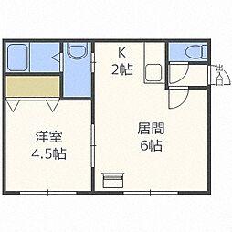 北海道札幌市豊平区豊平五条5丁目の賃貸アパートの間取り