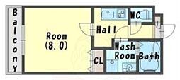 南海線 石津川駅 徒歩5分の賃貸アパート 1階1Kの間取り