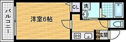 ハイグレード中宮I 1階1Kの間取り