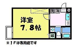 フラッティ京都西陣 1階1Kの間取り