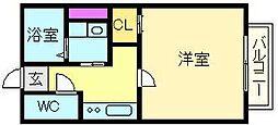大阪府堺市北区中百舌鳥町5丁の賃貸アパートの間取り