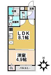 名古屋市営名城線 堀田駅 徒歩7分の賃貸アパート 1階1LDKの間取り