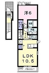 JR横浜線 成瀬駅 徒歩17分の賃貸アパート 2階1LDKの間取り