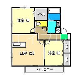 グランフェリオ B棟[2階]の間取り
