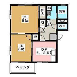 カトレヤハイツA・B[1階]の間取り