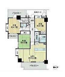 都営大江戸線 中井駅 徒歩1分の賃貸マンション 10階3LDKの間取り