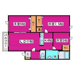 北海道札幌市北区屯田八条2丁目の賃貸アパートの間取り