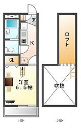 レオパレススマイリー[2階]の間取り