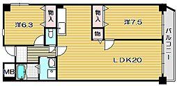 大阪府茨木市若園町の賃貸マンションの間取り