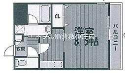 JR山陽本線 中庄駅 徒歩4分の賃貸マンション 3階1Kの間取り