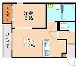 メゾンクレール竹下駅前弐番館 3階1LDKの間取り