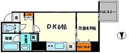 レオンコンフォート本町橋 13階1LDKの間取り