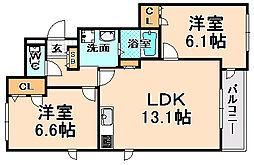 兵庫県伊丹市御願塚1丁目の賃貸マンションの間取り