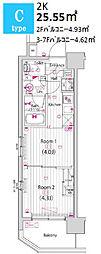 ガーラ・パークサイド木場 2階2Kの間取り