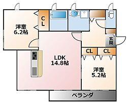 兵庫県西宮市今津上野町の賃貸アパートの間取り