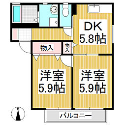 ディアスコミヤマ B棟[2階]の間取り