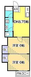東京都国分寺市本多5丁目の賃貸アパートの間取り
