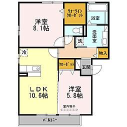 愛知県西尾市丁田町流の賃貸アパートの間取り