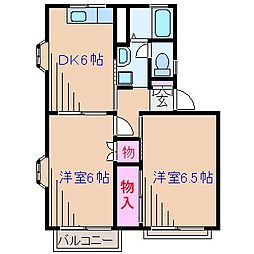神奈川県横浜市港北区高田西5丁目の賃貸アパートの間取り