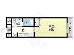 リアライズ住之江公園 4階1Kの間取り