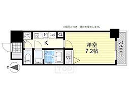 エステムコート南堀江3チュラ[7階]の間取り
