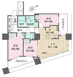 都営大江戸線 西新宿五丁目駅 徒歩7分の賃貸マンション 13階3LDKの間取り