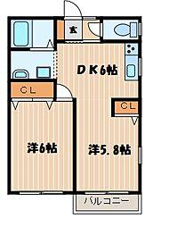 神奈川県横浜市港北区大曽根台の賃貸アパートの間取り
