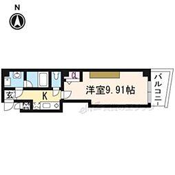 阪急京都本線 京都河原町駅 徒歩2分の賃貸マンション 5階1Kの間取り