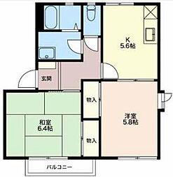 長野県長野市中御所5丁目の賃貸アパートの間取り