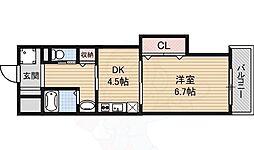 マンションクォーレ 3階1Kの間取り