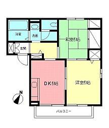 神奈川県平塚市南原3丁目の賃貸アパートの間取り