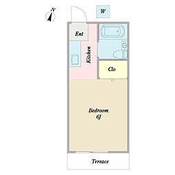 プリムラハイツB 2階ワンルームの間取り
