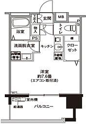JR横浜線 十日市場駅 徒歩7分の賃貸マンション 4階1Kの間取り