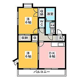 アドバンス黒木[2階]の間取り