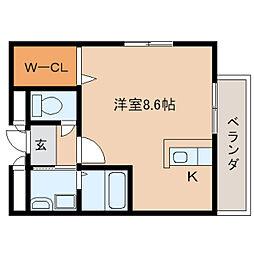 奈良県磯城郡田原本町阪手の賃貸アパートの間取り